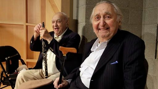 Clarinetist Sol Yaged, 91, left,  and comedian Fyvush Finkel, rehearse at the Baruch Performing Arts Center, in New York,  Friday.