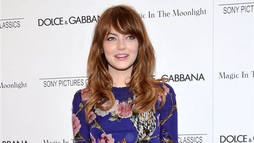 """Actress Emma Stone arrives at the premiere of """"Magic In The Moonlight"""" in New York. Roundabout Theatre Company said Wednesday that Stone will make her Broadway debut Nov. 11 as Sally Bowles, in """"Cabaret,"""" taking over from Michelle Williams at the Studio 54 theater."""