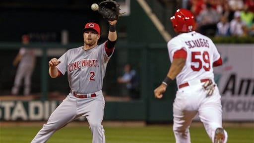 Cincinnati shortstop Zack Cozart takes the throw on a a double play during the fifth inning in St. Louis. Xavier Scruggs was out at second.