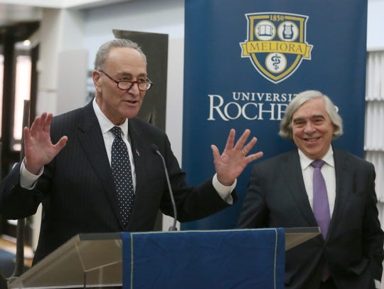 Senator Charles Schumer, left, and US Energy Secretary