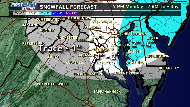 Snow forecast 7pm Monday until 7am Tuesday