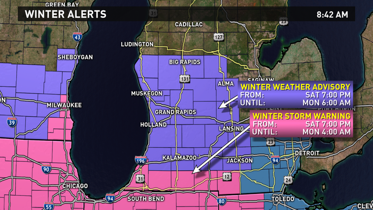 Winter weather advisory for most of west Michigan starting