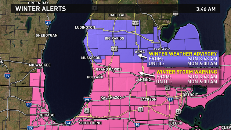 Winter storm warning for most of west Michigan