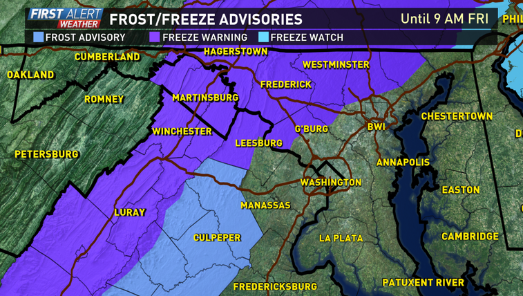 Frost Advisory added & the Freeze Warning expanded