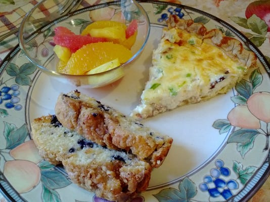 Bacon, Swiss and Green Onion Quiche with Blueberry Coffeecake and Winter Citrus.