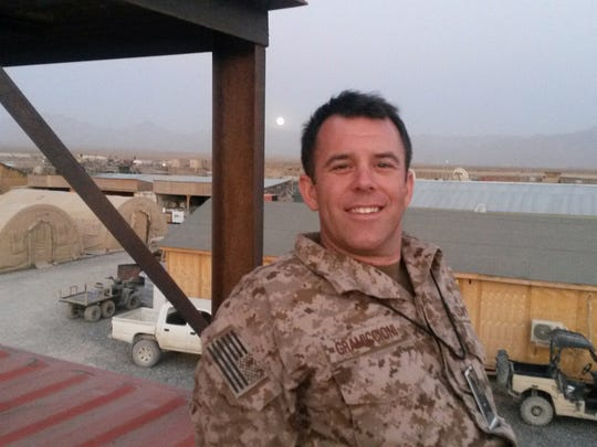 Acting Monmouth County Prosecutor Christopher Gramiccioni inside camp in southeast Afghanistan.