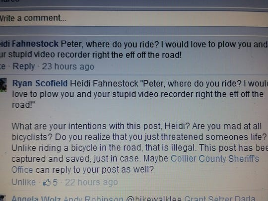 "A Facebook post threatening to ""plow over"" a cyclist prompted a Collier County investigation."
