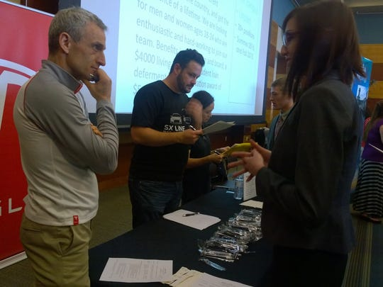 Hundreds of UNR students waited to talk to Tesla recruiters in February at a summer job and internship expo.
