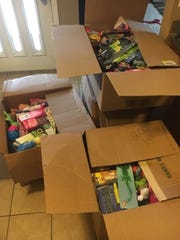 Shawn Wright receives a donation of more than 750 toys