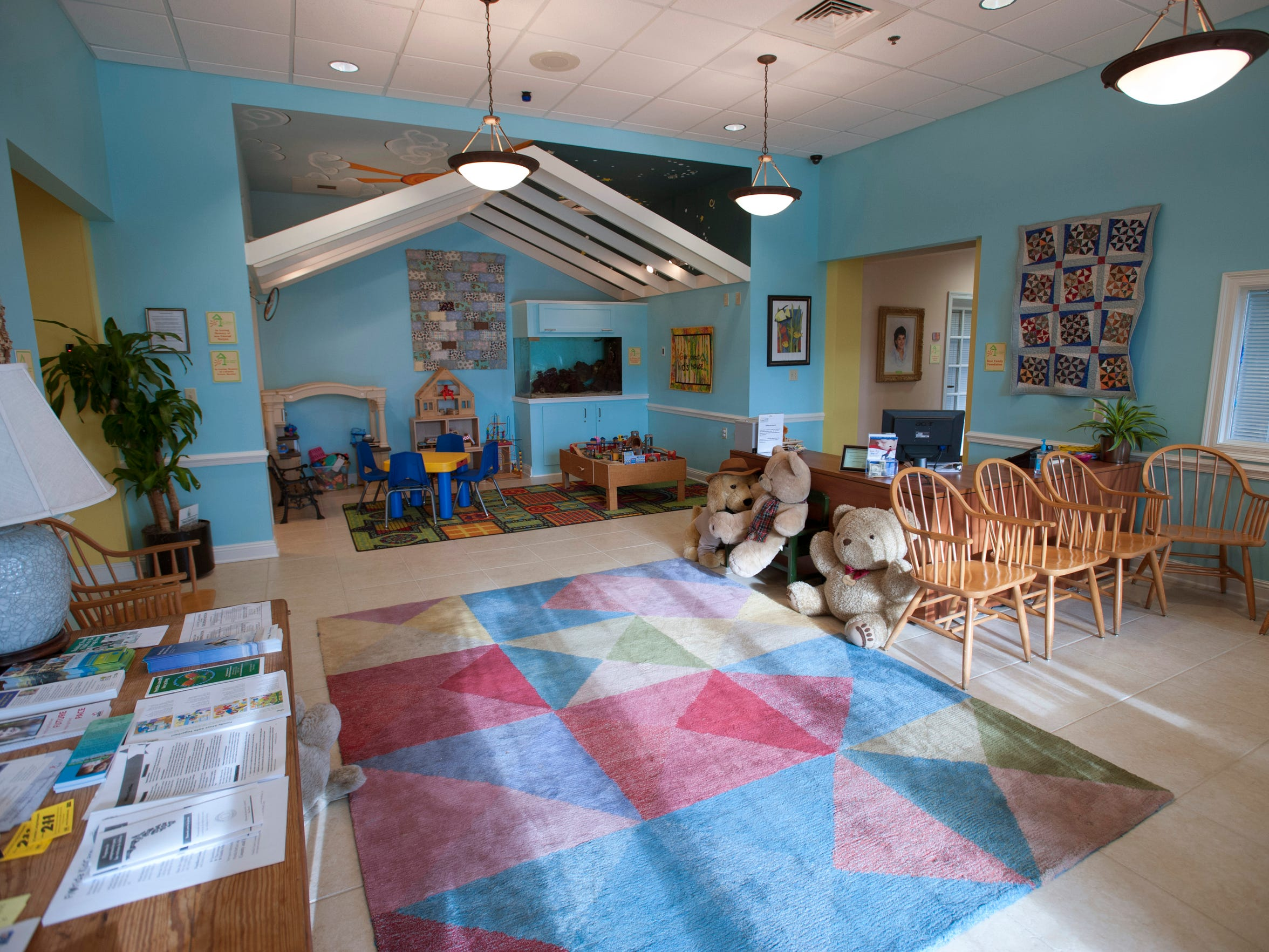 The lobby area of the Gulf Coast Kid's House is a meant to be inviting and comforting to children.