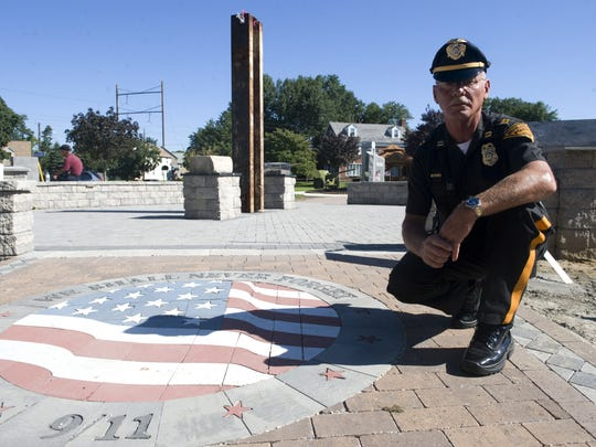 Brooklawn Police Chief Steven Saymon was a first responder and was instrumental in bringing a 9/11 memorial to Brooklawn. The steel beam from the twin towers measures 9 foot 11 inches from the ground to the top.