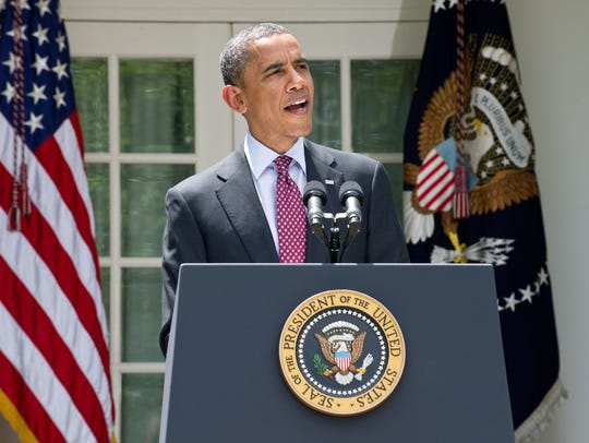 President Obama delivers a statement in the Rose Garden