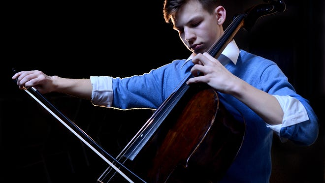 Fairfield Christian Academy sophomore David Harris plays the cello in Lancaster. Harris performs with the Columbus Symphony Youth Orchestra. In June, the group will perform at Carnegie Hall in New York City.