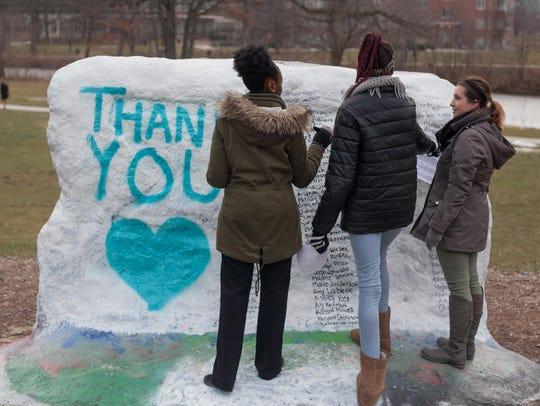 MSU students from left, Hemerance Akono, Taylor Bonner,