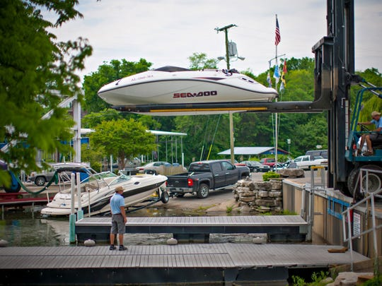 Drakes Creek Marina has the only Travel Lift on Old