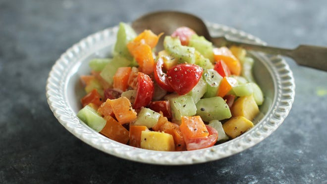 This June 15, 2015, photo shows the back-to-school chopped salad in Concord, N.H. This dish is from a recipe by Alison Ladman.