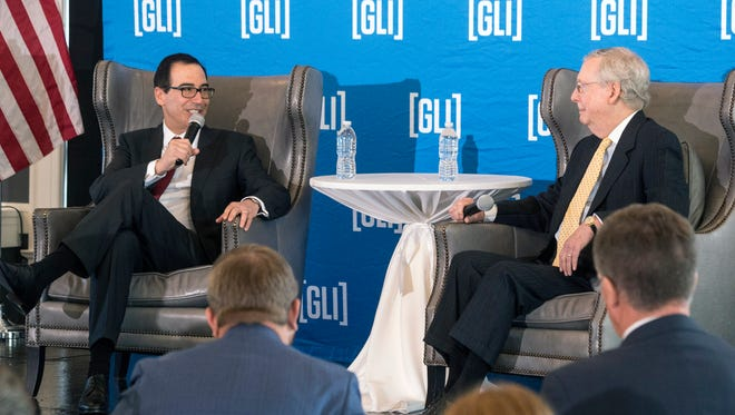 US Secretary of Treasury Steven Mnuchin joined Senator Mitch McConnell on stage at The Olmstead to address members of GLI during a Monday afternoon lunch. 8/21/17