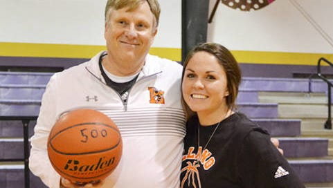 Llano head basketball coach Jerry McSherry won his 500th game while at Llano. He is pictured with assistant coach Amy Withrow. McSherry has accepted position at Ballinger High School to replace Stacey Smalley as head girls basketball coach. McSherry, a Menard native, has also coached at Menard and Irion County.