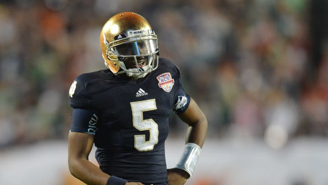 Everett Golson is back with Notre Dame, but he will face competition for the starting QB job.