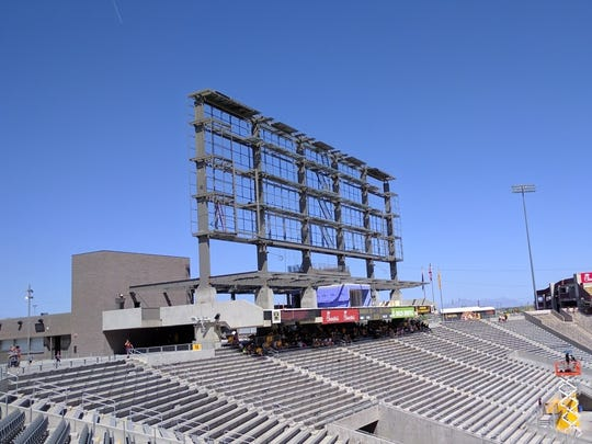The framework for the new video board at Sun Devil Stadium during the spring game in Tempe, Ariz. on April 15, 2017.
