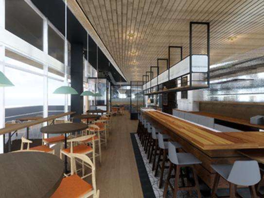 A rendering depicts the bar and dining area at Hedge