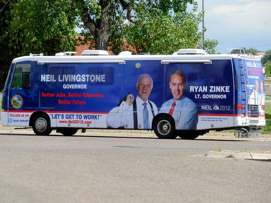 This July 14, 2011 photo shows the campaign bus of