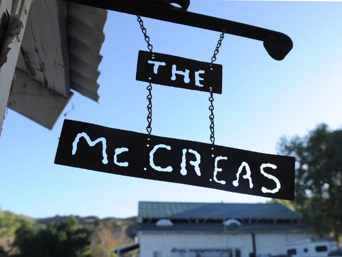 A name plate hangs at the McCrea Ranch, which will