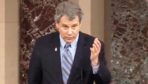 Sen. Sherrod Brown, D-Ohio, addresses the Senate in support of his bill to keep the synthetic opioid fentanyl out of Ohio.