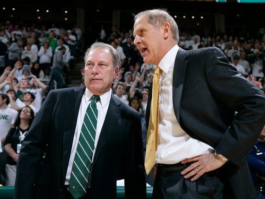 Michigan State coach Tom Izzo, left, and Michigan coach