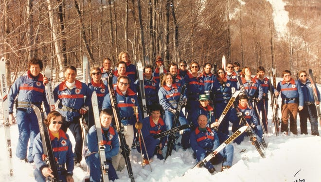 A group photo of the Mount Mansfield Ski Patrol in the 1980s.