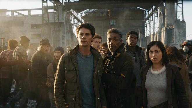 "Dylan O'Brien, Giancarlo Esposito and Rosa Salazar in ""Maze Runner: The Death Cure."""