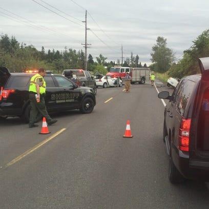 Marion County deputies investigate a head-on crash on Silverton Road NE Tuesday morning.