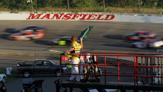 Racers compete during the Bud St. Amant Memorial 125 at Spitzer Motor Speedway on Aug. 6.