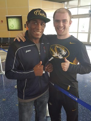 Dover grad Cody Shoemaker, right, with J'Den Cox. Shoemaker will be traveling to the Olympics in Rio in August to serve as Cox's manager while he competes for Team USA.
