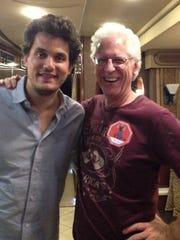 Musician John Mayer with Martin longtime employee Dick