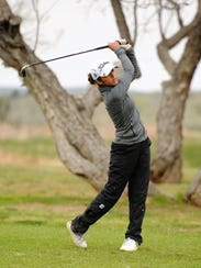 Snyder's Cylie Velasquez tees off during the final