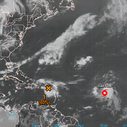 A tropical wave (orange X) is being monitored in the