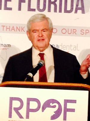 Former House Speaker  Newt Gingrich addressing same breakfast;  addressing Florida delegation at a breakfast meeting in Cleveland, Ohio, Thursday, July 21, 2016.