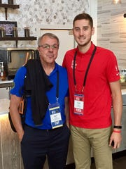 Poughkeepsie's Rich Rinaldi and Elizaville's Tyler Lydon pose together at the NBA's rookie symposium this month.