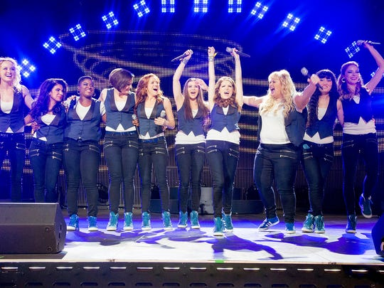 "The Barden Bellas — from left, Kelly Jakle, Chrissie Fit, Ester Dean, Shelley Regner, Brittany Snow, Hailee Steinfeld, Anna Kendrick, Rebel Wilson, Hanna Mae Lee and Alexis Knapp — take on the world in ""Pitch Perfect 2."""