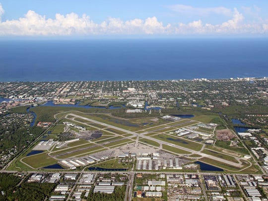 Aerial view of Naples Municipal Airport in Naples,