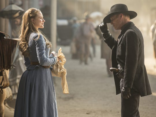 Evan Rachel Wood and Ed Harris star in HBO's 'Westworld.'
