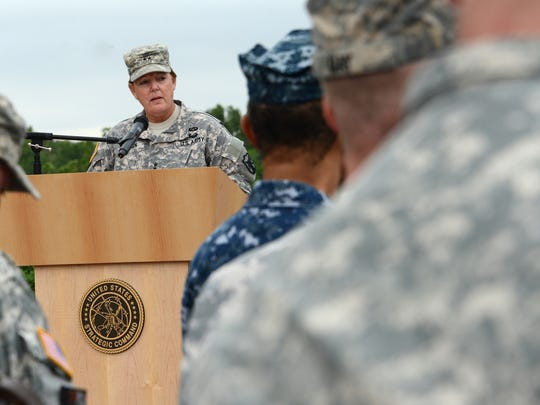 Maj. Gen. Heidi V. Brown speaks during U.S. Strategic Command's celebration of the Army's 240th birthday in summer 2015 at Offutt Air Force Base, Neb.