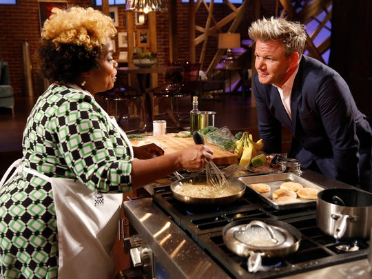 """MASTERCHEF: L-R: Contestant Yachcia with host / judge Gordon Ramsay in the all-new """"America's Grocery Bag"""" episode of MASTERCHEF airing Wednesday, June 14 (8:00-9:00 PM ET/PT) on FOX. CR: FOX. © 2017 FOX Broadcasting Co."""