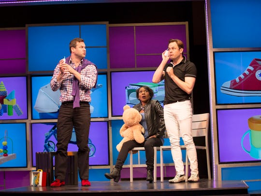 """George Merrick (left to right), Karen Burthwright and Mitchell Jarvis in """"I Love You, You're Perfect, Now Change"""" at George Street Playhouse."""