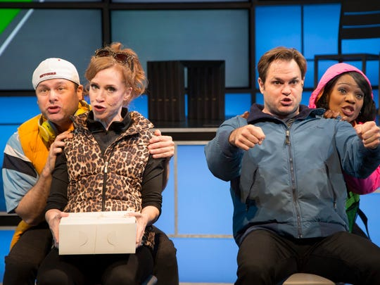 """George Merrick (left to right), Lindsay Nicole Chambers, Mitchell Jarvis and Karen Burthwright in """"I Love You, You're Perfect, Now Change."""""""
