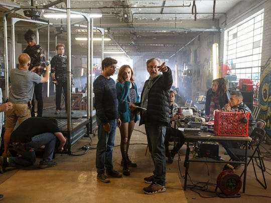 "Steven Spielberg directs Tye Sheridan and Olivia Cooke in ""Ready Player One."""
