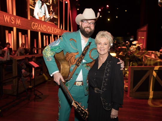 Joshua Hedley and Country Music Hall of Famer Connie Smith at the Grand Ole Opry House, Apr. 20, 2018, in Nashville, Tenn.