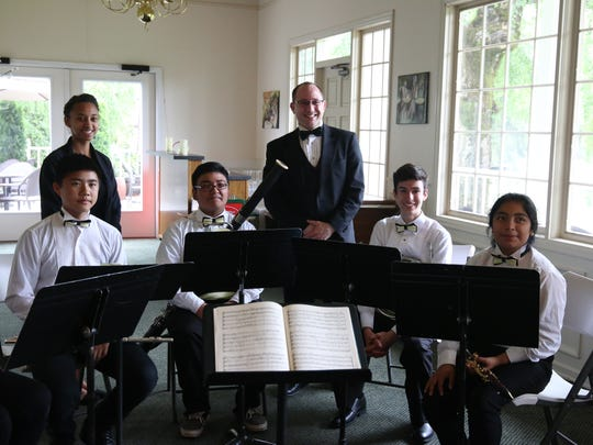 A wind ensemble from Waldo Middle School entertained