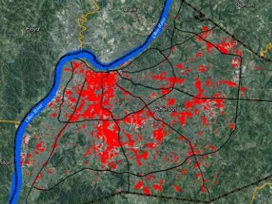 Hot spots in Louisvlle are those without many trees,
